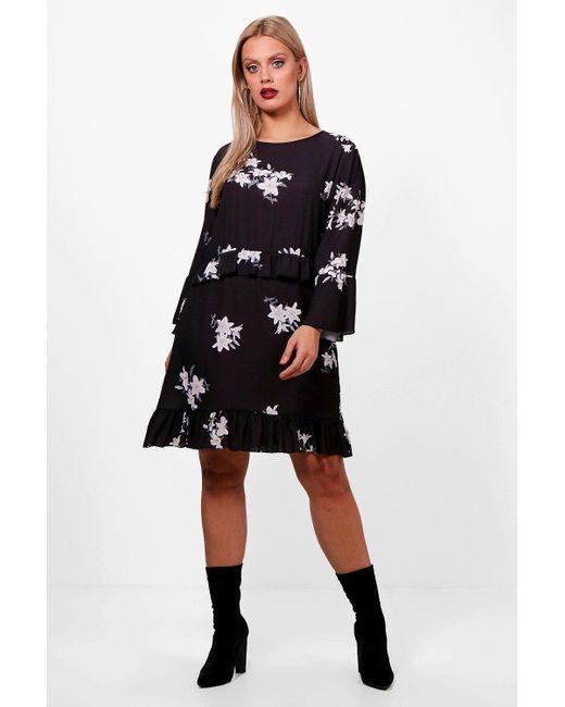 853457d77ba7 Boohoo - Black Plus Floral Ruffle Detail Woven Shift Dress - Lyst ...