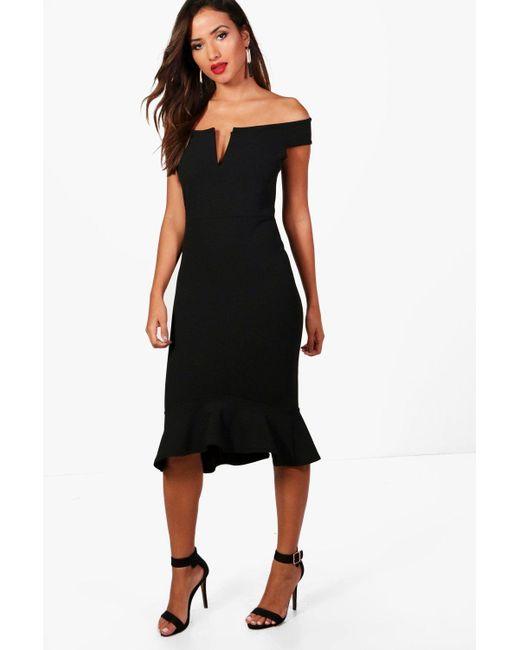 8965eaf0fc9a Boohoo - Black Off The Shoulder Frill Hem Midi Dress - Lyst ...