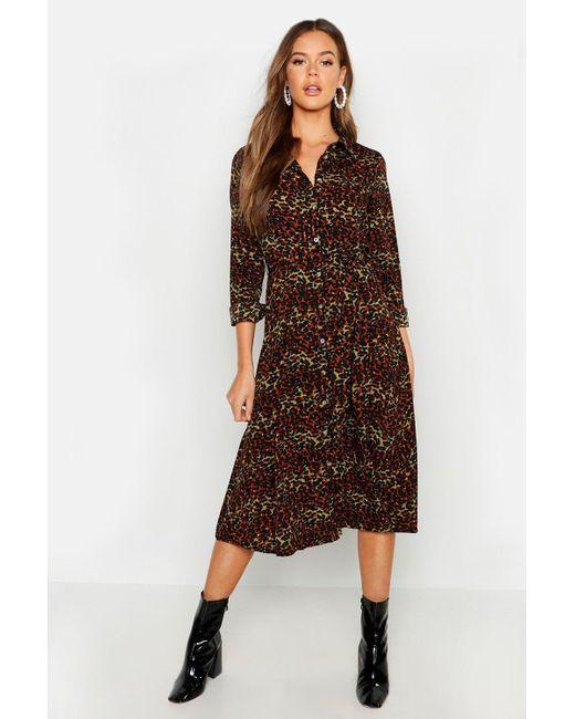 ad9d83fd5fe44 Boohoo - Brown Mixed Leopard Print Belted Midi Shirt Dress - Lyst ...