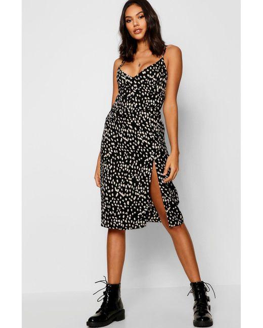 bfbe67c98b4d Boohoo - Brown Animal Print Wrap Midi Dress - Lyst ...
