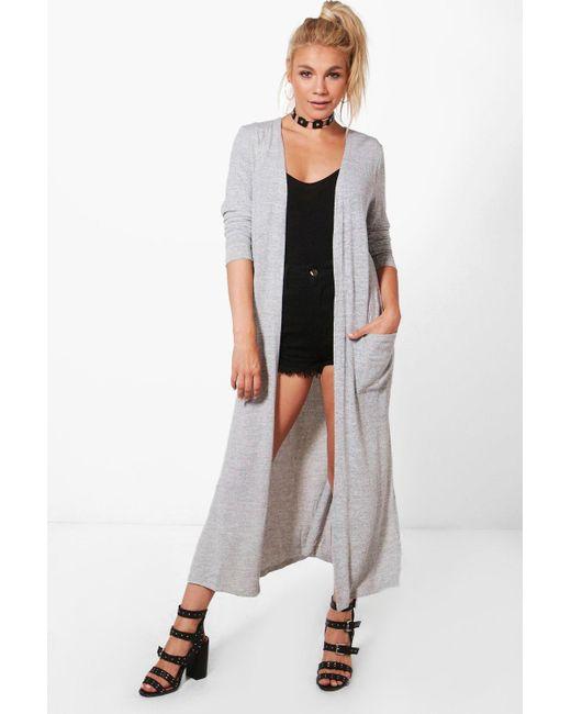 Boohoo Phoebe Maxi Cardigan in Gray | Lyst
