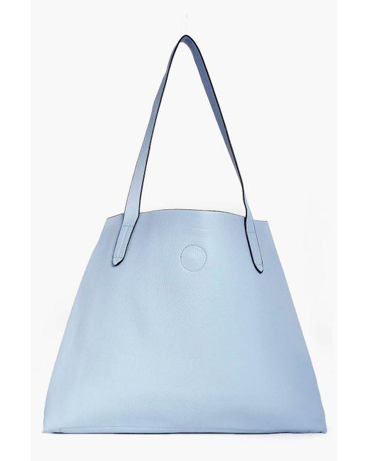 Boohoo | Blue Victoria Basic Popper Shopper Bag | Lyst