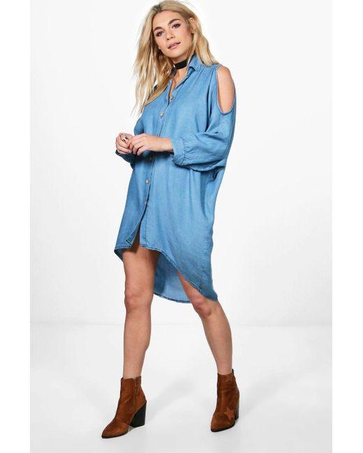 Boohoo | Blue Louise Oversized Cold Shoulder Denim Dress | Lyst