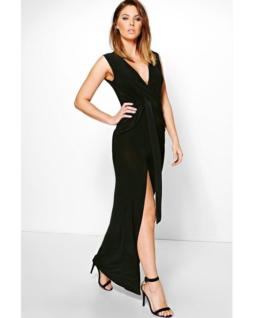 Boohoo | Black Hana Slinky Plunge Wrap Tie Maxi Dress | Lyst