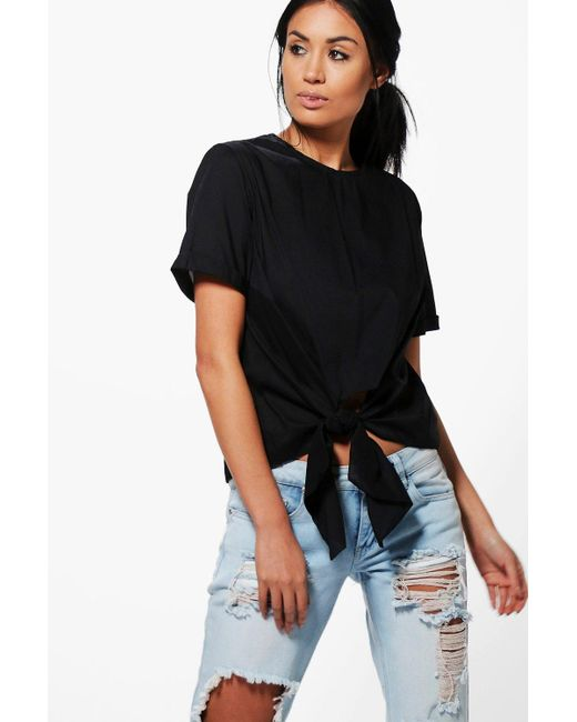 Boohoo | Black Kayla Knot Tie Front Short Sleeve Woven Shirt | Lyst