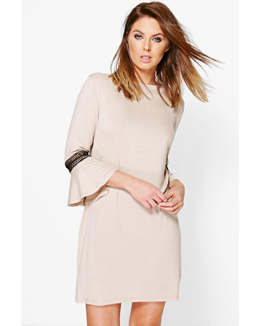 Boohoo | Natural Morris Crochet Trim Flute Sleeve Shift Dress | Lyst