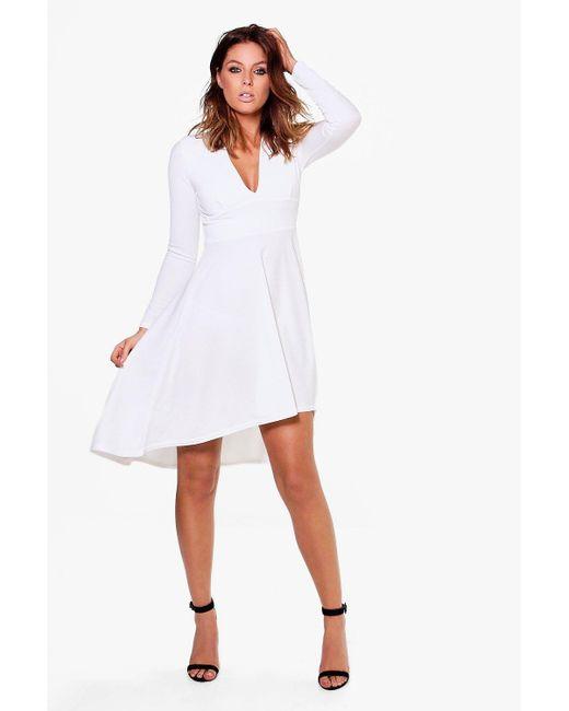 Boohoo | White Kia Long Sleeve Plunge Dip Hem Skater Dress | Lyst