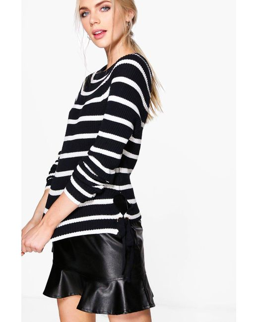Boohoo | Blue Rosie Nautical Stripe Fisherman Jumper | Lyst