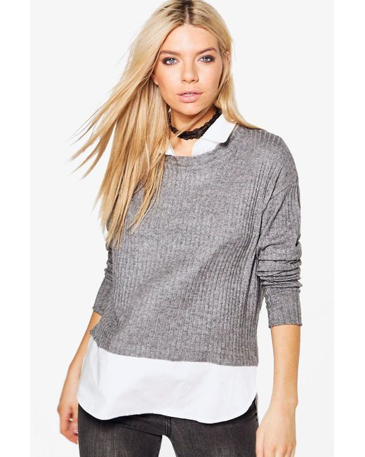 Boohoo | Gray Emma 2 In 1 Shirt And Jumper | Lyst