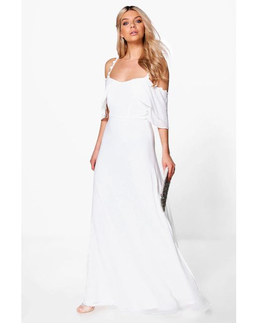 Boohoo | White Boutique Cicely Chiffon Frill Maxi Dress | Lyst