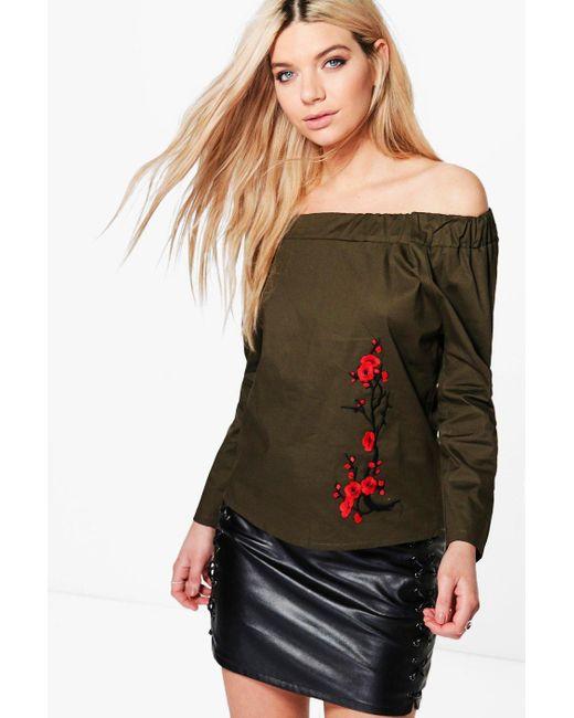 Boohoo | Multicolor Jasmine Long Sleeve Embroidered Woven Bardot | Lyst