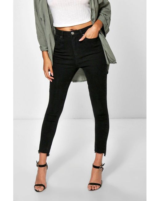 Boohoo Jayne Step Hem High Waisted Slim Leg Jeans in Black | Lyst
