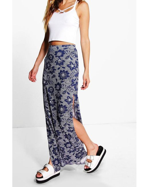 Boohoo Loria Floral Double Side Split Maxi Skirt In Blue