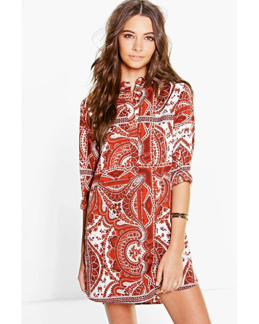 Boohoo Elisabetha Paisley Shirt Dress In Red Lyst