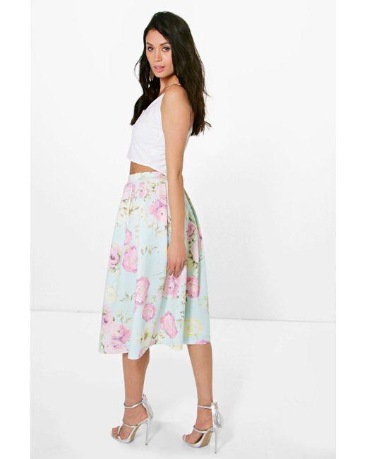 boohoo arabella pastel floral midi skater skirt in