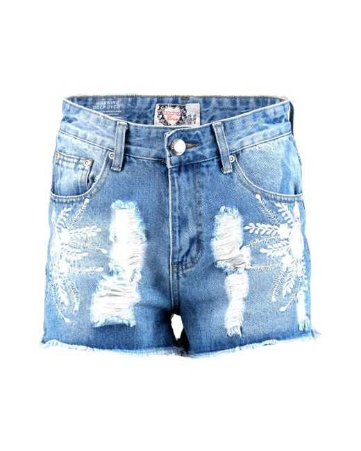 Boohoo lucy embroidered denim mom shorts in blue lyst