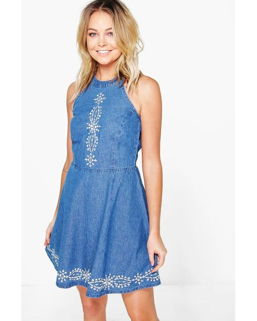 Boohoo gia embroidered denim skater dress in blue lyst