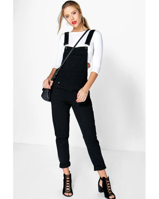 Boohoo Emma Denim Dungarees in Black