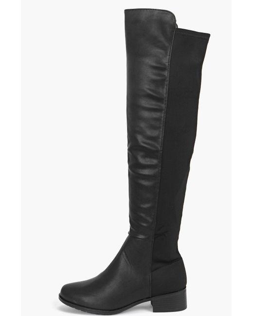 boohoo lucia elastic back knee boot in black lyst