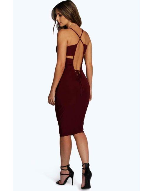 Boohoo arya cut out low back slinky midi dress in black lyst