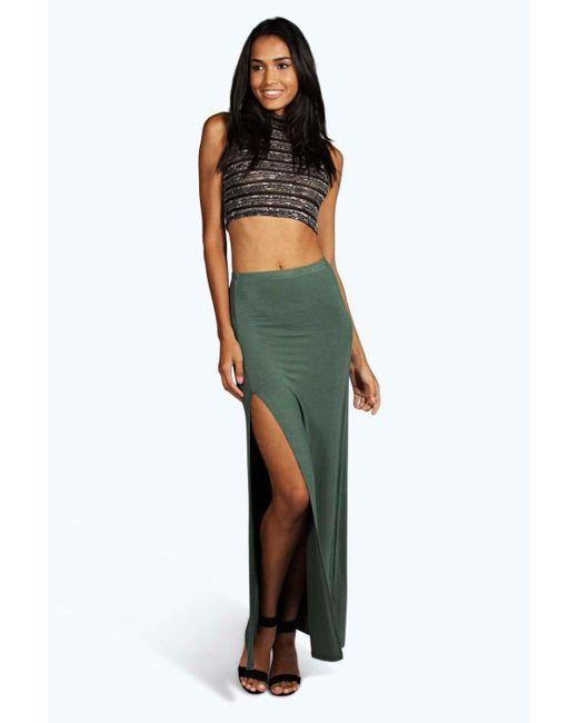 boohoo micha basic side split maxi skirt in green lyst