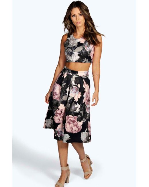 Boohoo | Multicolor Martha Floral Print Bralet And Skater Skirt Co-ord ...