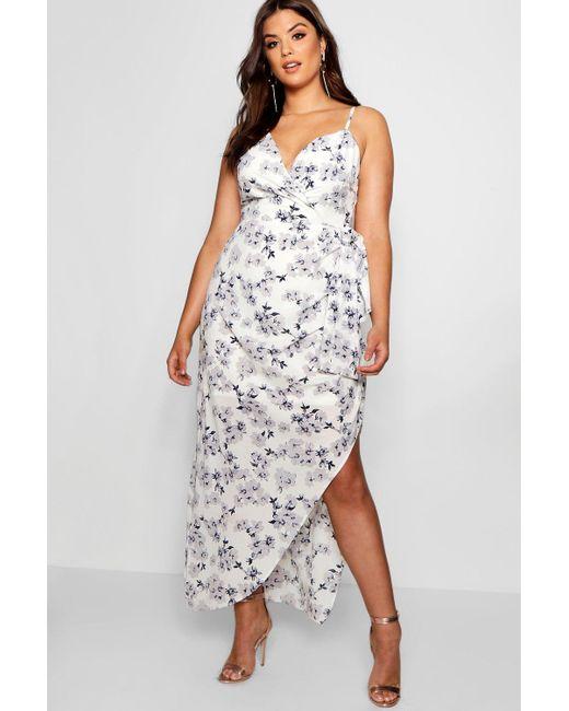a98c0a9705 Boohoo - Multicolor Plus Eliza Wrap Ruched Floral Maxi Dress - Lyst ...