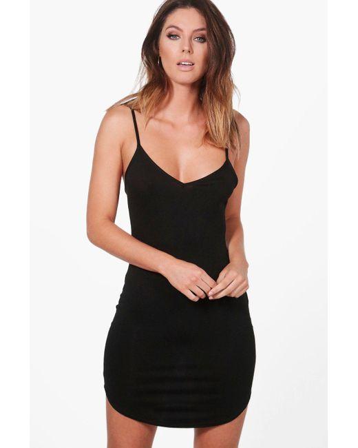 Boohoo - Black Alice Strappy Curved Hem Bodycon Dress - Lyst