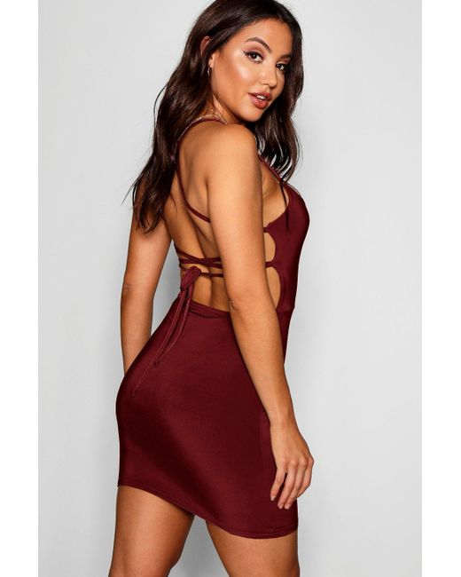 Boohoo - Red Strappy Back Detail Bodyon Dress - Lyst ... 04f7fde6c