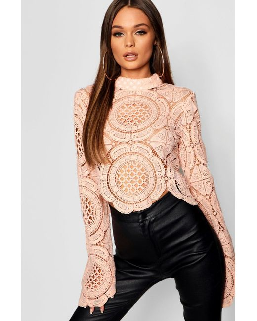 ec0b5467169 Boohoo - Natural Turtle Neck Crochet Lace Crop - Lyst ...