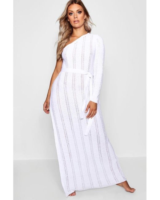 77f0cb47d8f7 Boohoo - White Plus One Shoulder Crochet Beach Dress - Lyst ...