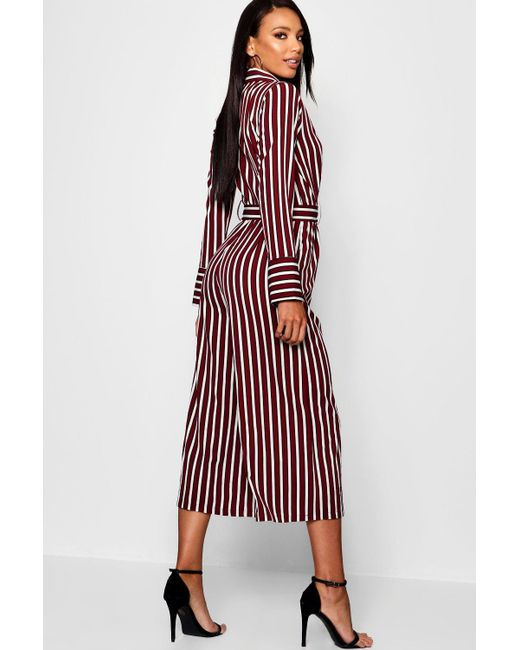 e490a4f14215 ... Boohoo - Red Pyjama Style Striped Culotte Jumpsuit - Lyst ...