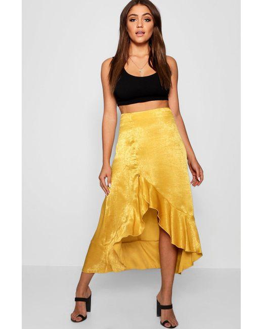 Boohoo - Multicolor Satin Ruffle Thigh Split Maxi Skirt - Lyst