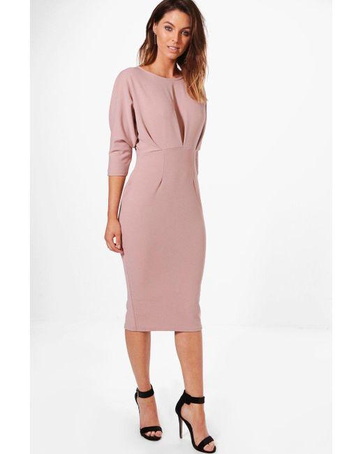 Boohoo - Pink Melli Pleat Detail Batwing Pencil Midi Dress - Lyst ...