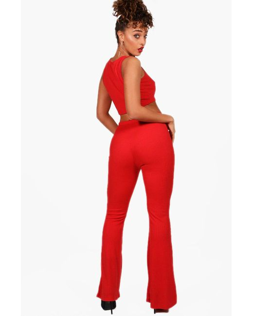 Boohoo Basic Rib and Flared Trouser Co-ord Sale Buy Cheap View Cheap Sale Fake Free Shipping Best Place Outlet Low Shipping 68Chrcy6