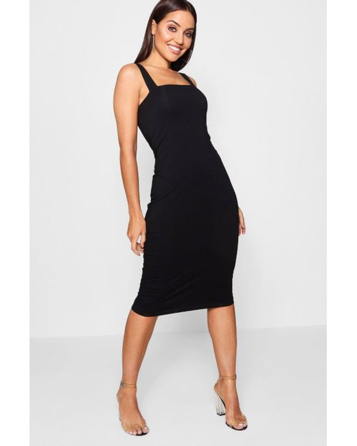 1a991e88cc7 Boohoo - Black Square Neck Bodycon Midi Dress - Lyst ...