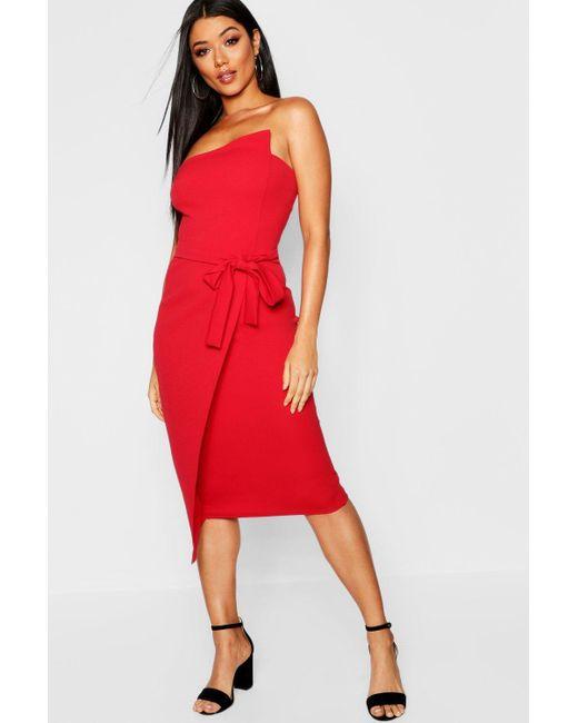 e1e3375981 Boohoo Bandeau Wrap Midi Dress in Red - Save 27% - Lyst