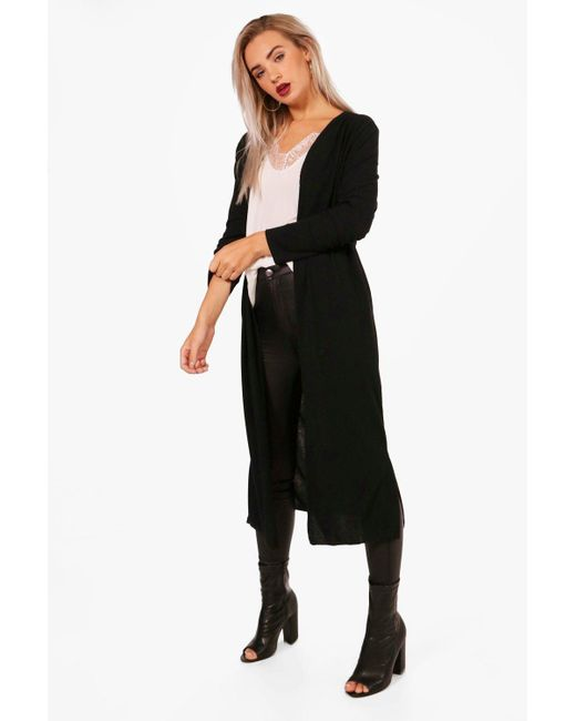 Boohoo | Black Holly Maxi Cardigan | Lyst