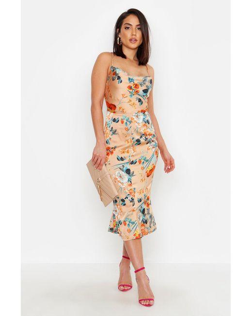 982e0fb6bd22 Boohoo - Metallic Satin Floral Cowl Flute Hem Slip Dress - Lyst ...