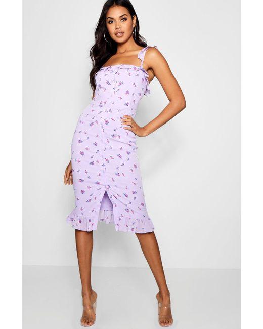Boohoo - Purple Floral Print Button Through Midi Dress - Lyst ... 12a0db523