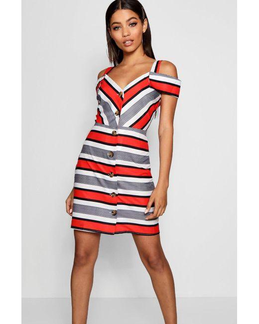 272c6d48c9 Boohoo - Red Stripe Cold Shoulder Summer Dress - Lyst ...