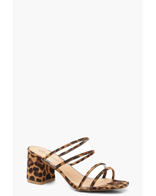 bd618c933179 Boohoo - Black Extra Wide Fit Leopard Clear Strap Heel Mules - Lyst ...