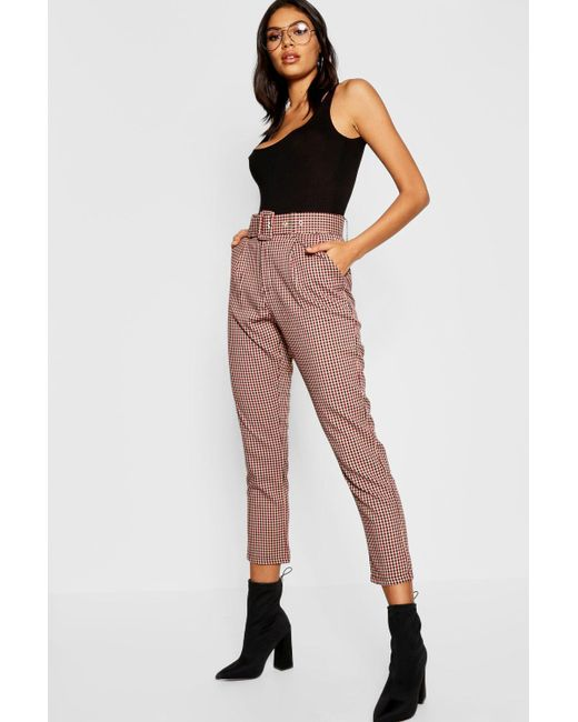 1bd3d6fe3928a Boohoo - Multicolor Check Belted Tapered Trouser - Lyst ...