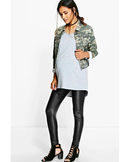 641d0103dc58e Boohoo Maternity Leather Look Over The Bump Legging in Black - Save ...