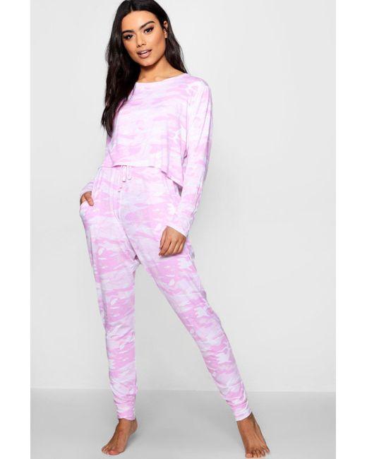 Boohoo - Pink Brooke Camo Print Lounge Set - Lyst