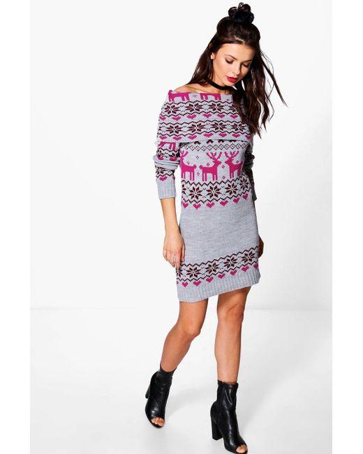 Boohoo Isabelle Reindeer Fairisle Christmas Jumper Dress in ...
