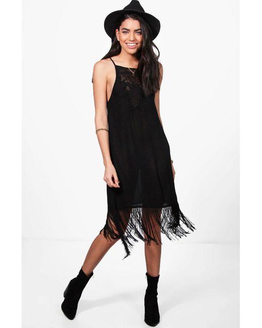 Boohoo   Black Janie Strappy Fringed Slip Dress   Lyst
