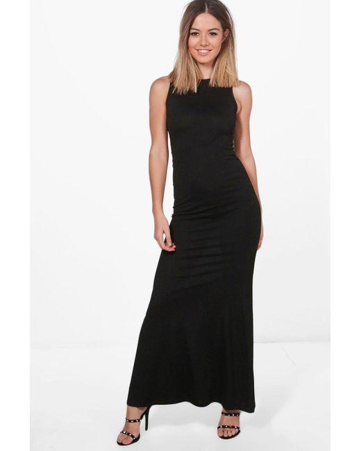 Boohoo | Black Petite Aimee Slash Neck Fishtail Maxi Dress | Lyst
