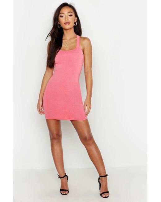 24332f840b Boohoo - Pink Petite Cross Back Bodycon Dress - Lyst ...