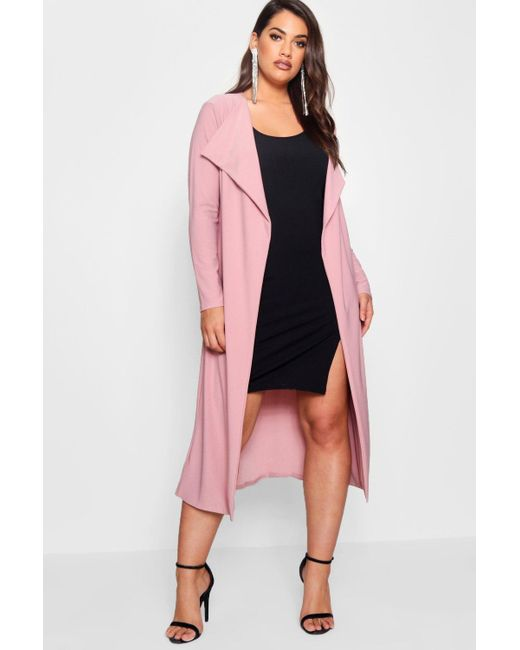 Boohoo - Pink Plus Duster Jacket - Lyst